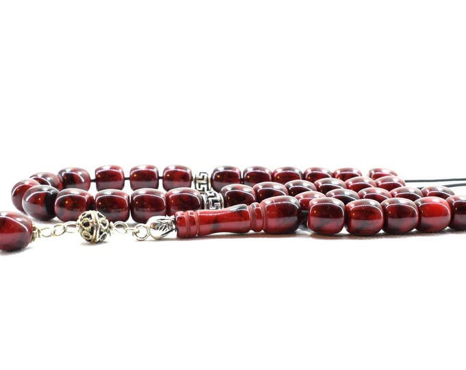 Dark Red-Black Komboloi, Worry Beads, 33 Acrylic Beads, Greek Komboloi, Stress Relief, Gift for Him, Made in Greece, Tesbih, Gift for Men