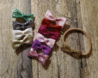 Glitter Bow Piggie Tail Clips | Piggy Tail Clips | Pig Tail Clips | Pig Tail Clips Set | Glitter Bow Hair Clips | Mini Glitter Bow Headband