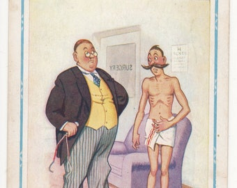 Vintage Artist Signed Comic/Saucy Postcard,Donald MCGILL,Man in Towel & Doctor, D Constance,1960