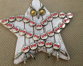 Owl Bottle Cap Wall Hanging - Whitewashed Star With Vintage Budweiser Bow Tie Logo Caps-Great for Man Cave or Owl Lovers