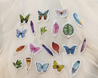 Gloss BUTTERFLY - FEATHER - PLANTS Flake Stickers - 20 for Your enjoyment