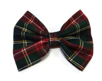 Green red bow tie     tartan for owner   and pet doggy    cat's bowtie