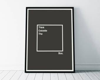 Wall Art Print, Think Outside The Box Print, Inspirational Poster, Motivational Print, Inspirational Print, Inspiration Art, Minimalist Art