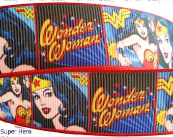 "Wonder Woman Comic Book Super Hero Inspired Printed Grosgrain Ribbon 5/8"" or 1"" Wide"