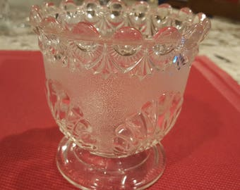 Vintage cut glass dish with stem