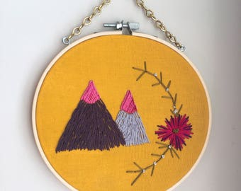 Mountain boho wall art, mountain embroidery art, boho wall art, boho wall hanging, embroidered wall hanging, the mountains are calling