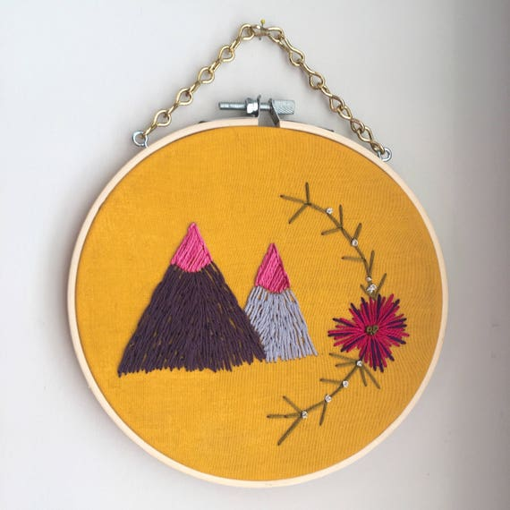 Mountain boho wall art mountain embroidery art boho wall