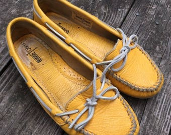Yellow Leather Minnetonka Moccasins Women's Size 8.5