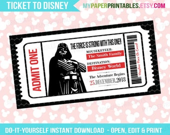 Darth Vador Printable Ticket To Disney DIY Personalize INSTANT DOWNLOAD Disney World Disneyland Boarding Pass Surprise Kids Disney