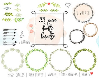 Watercolor doodles   33 piece bundle   whimsical   watercolor wreaths, circles, splotches, arrows, circles, greenery, heart, ampersand, more