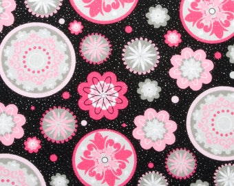 Medallions Fabric, Pink Floral Fabric by the Yard, Glitter Fabric, Geometric Fabric, Black and Pink Fabric, Pink Gray Fabric, Quilting
