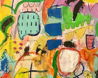 Original Abstract Painting on paper, modern home, art
