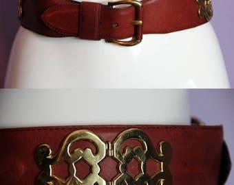 """Vintage JIL SANDER Bordeaux Leather Belt Gold Metal Hardware 75cm 29,5"""""""