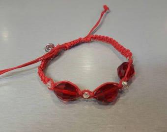 Hot red hemp bracelet