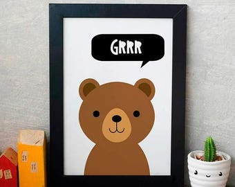 Bear wall print, GRRR bear printable, bear wall art, bear decor, bear gift, bear present, bear kids art, educational decor, baby bear print