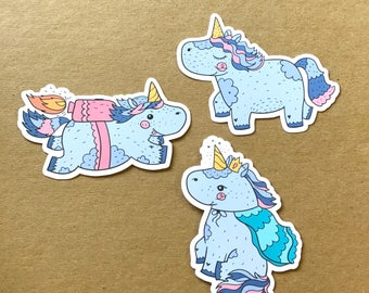 Courage the Unicorn Die Cuts, Set of 3, Plantasia Friends, The Unicorn Squad