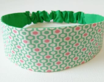 Elastic headband, headband reversible woman green and pink