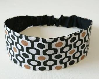 Elastic headband, reversible headband woman printed patterns Scandinavian black and white and golden brown