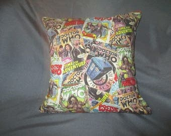 "Dr. Who Many Faces of the Dr. or Comic Covers 16""x 16"" Decorative Pillow (with Insert)"