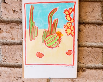 Cacti in Arizona - Oil Pastel Drawing
