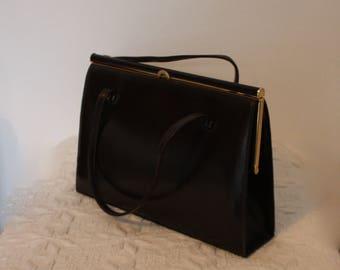 Vintage leather handbag - dark brown purse- 1960's top handle bag - Adrian Gold - Goodwood festival - accessories, vintage bags
