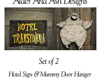 Hotel Transylvania Inspired Door Hangers, Mummy, Hotel Sign, Murray The Mummy, Halloween Decor, Halloween Door Hanger, Set of 2