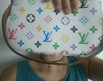 Clutch / pouch white branded leather LV