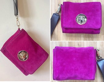 Kate Spade magenta suede leather wristlet clutch, kate spade purse, designer sample, magenta purse, new without tags, new, NWOT
