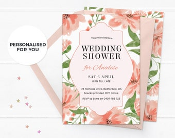 Floral wedding shower invitations, Hens party invites, Elegant wedding shower invites, Vintage bridal shower invitations Greenery invitation