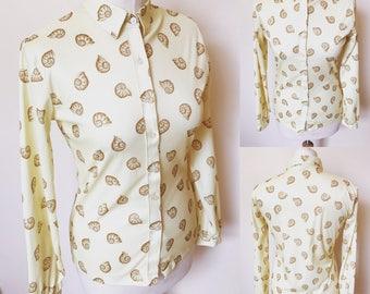Vintage Lemon Yellow Shell Print Polyester Shirt - UK Size 10/US Size 6