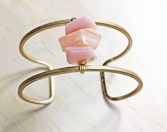 Pink Opal Bracelet, Pink Opal Cuff Bracelet, Pink Opal Jewelry, Natural Pink Opal Bracelet, Adjustable Bracelet, Gift Women, Natural Opal
