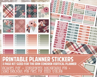PRINTABLE Planner Stickers/Orchard Weekly Kit/Sized for Erin Condren Vertical Planner