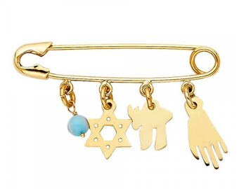 14K Solid Yellow Gold Star of David Hamsa Hand Chai Safety Pin Pendant - Necklace Charm