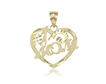 10K Solid Yellow Gold Heart #1 Mom Pendant - Number One Mother Love Necklace Charm