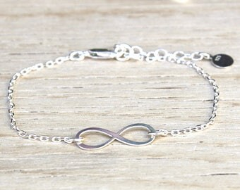 Sterling Silver infinity bracelet 925 on chain
