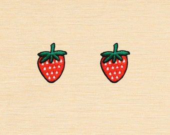 Set of 2 pcs Mini Red Strawberry Strawberries Berry Fruits Iron On Patches Sew On Appliques