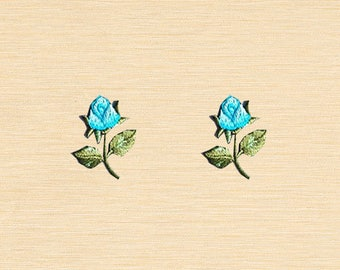 Set of 2 pcs Mini Blue Rose Iron On Patches Sew On Appliques