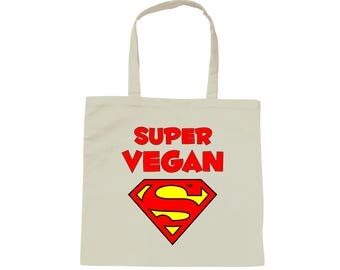 Tote bag white bag Super Vegan - Vegetarian - Vegan - vegan