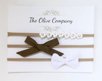 The Daisy- A collection of three handmade bows on nylon headbands or metal clips