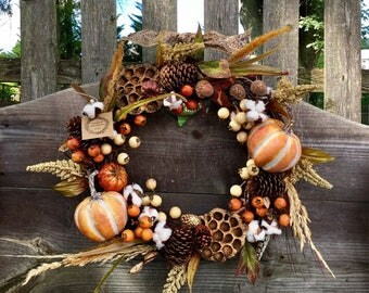 Fall wreath autumn wreath pumpkin wreath pine cone wreath cotton wreath fall decor grapevine wreath rustic wreath harvest wreath