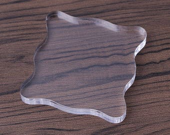Clear stamp acrylic transparent plate/for stamps in 2 sizes above 7.5 cm 10 cm