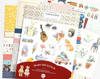 Diary 9 5 Version set sheets stickers Deco Pack
