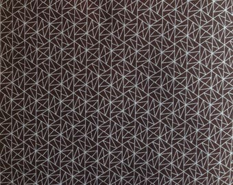 Cotton Japanese fabric - Sevenberry - triangles Brown background - 50 cm (110 x)