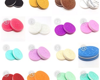 KID NAME on a Silicone Oreo Cookie teether  you chose color - personalized with name - BPA Free - Best Teether