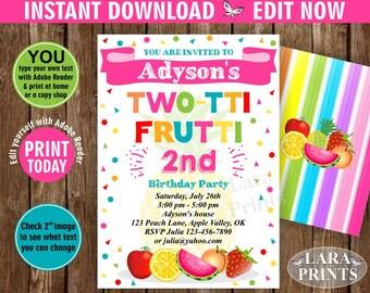 INSTANT DOWNLOAD / edit yourself now / Birthday Invitation / Two-tti Frutti / Twotti Frutti Party / Tutti Fruity / Tutti Fruitti / pink DTF4