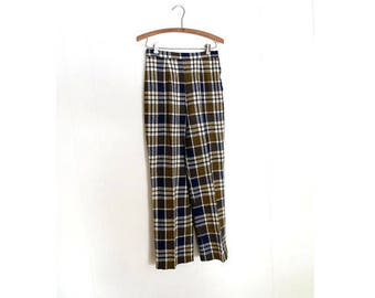 Vintage Plaid Pants | 60s Pants | High Waisted Pants | 27W Small