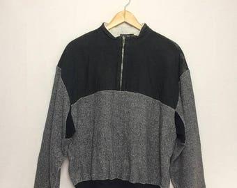BIG SALE Vintage ISSEY Miyake Sweatshirt Big Logo Quarter Zipper Medium/Deaigner/Fashion/Japanese Designer/Streetwear
