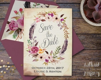 printable save the date boho wedding save our date floral wreath vintage romantic bohemian watercolor floral wedding invitations sage plum