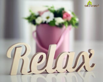 Wooden Relax Sign Bathroom Sign Relax Letters Bath Decor Bathroom Decor Letters Relax Free Standing Relax Spa Sign Gift for Home Beach Decor