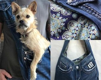 Bullshitz Doggie Bagz: Jeweled Denim with Purple Indian Fabric